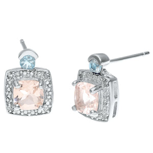 Gemstone Cushion Earrings with Diamond Accent in Sterling Silver