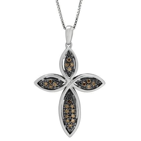Silver Cross Shape Pendant with Brown and White Diamond Accent