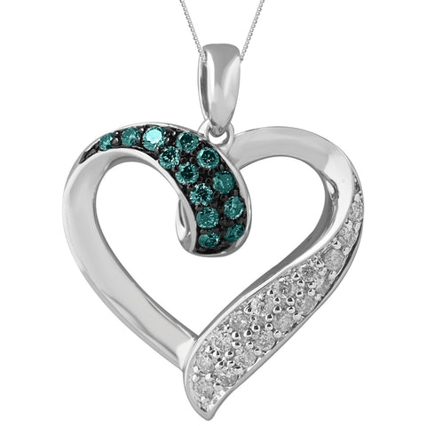 Image of Silver Hammered Shape Pendant with Colored and White Diamond Accent