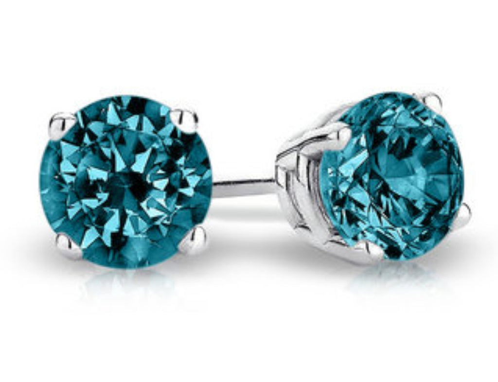 Round Stud Earrings with Blue Diamond Accent in 10K White Gold