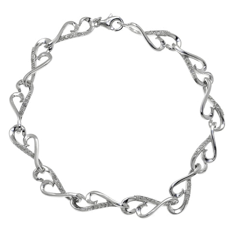 Image of Silver Bracelet with Diamond Accent