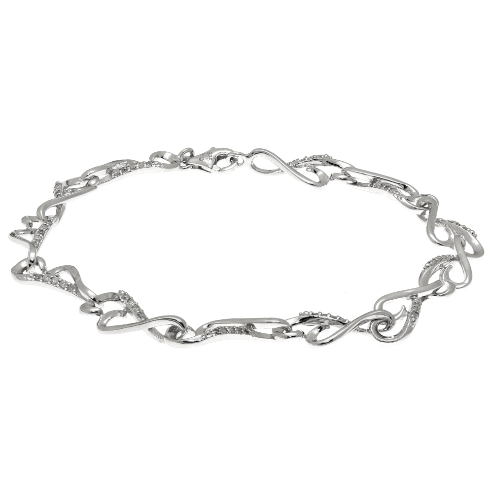 Silver Bracelet with Diamond Accent