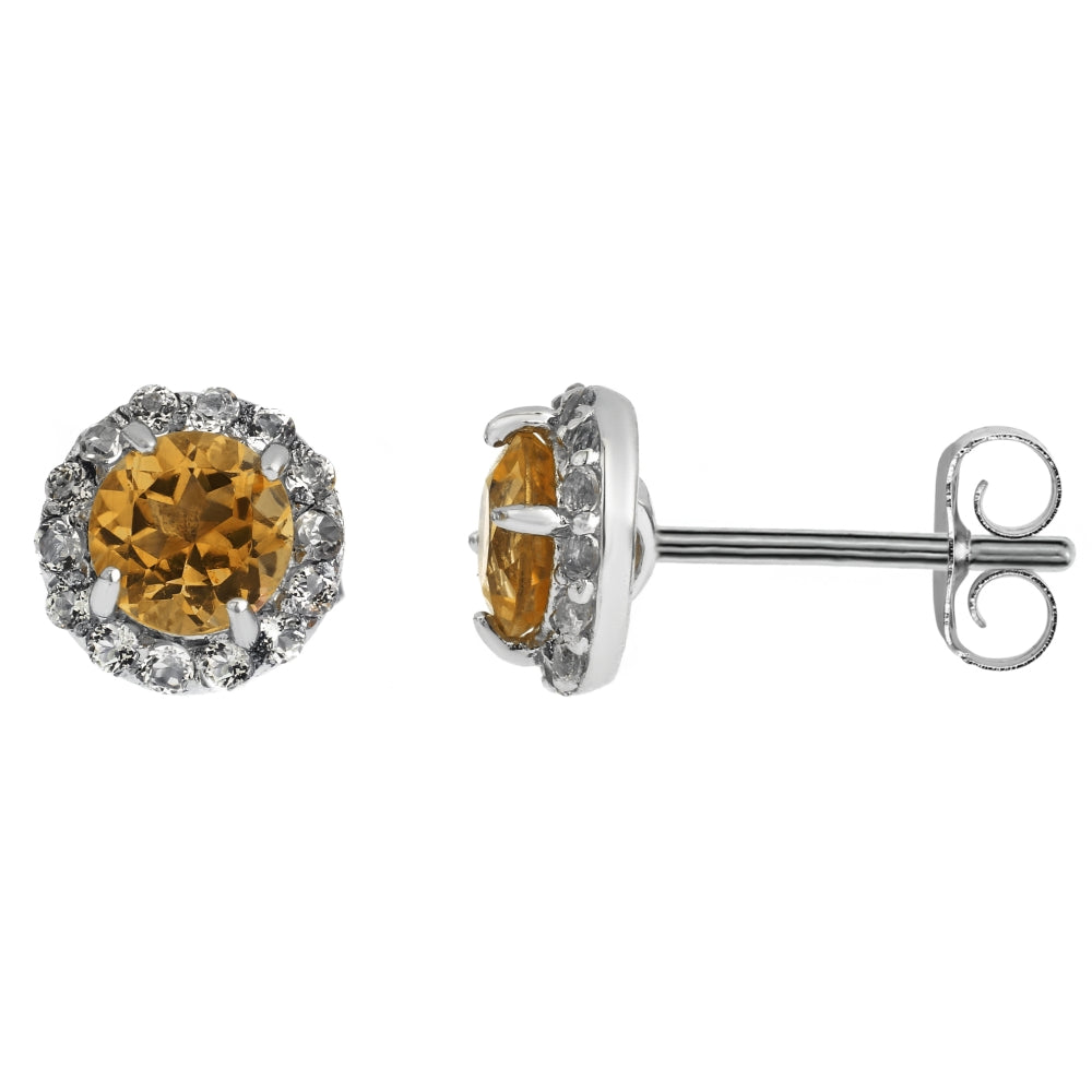 Round Gemstone & White Topaz Earrings in Sterling Silver