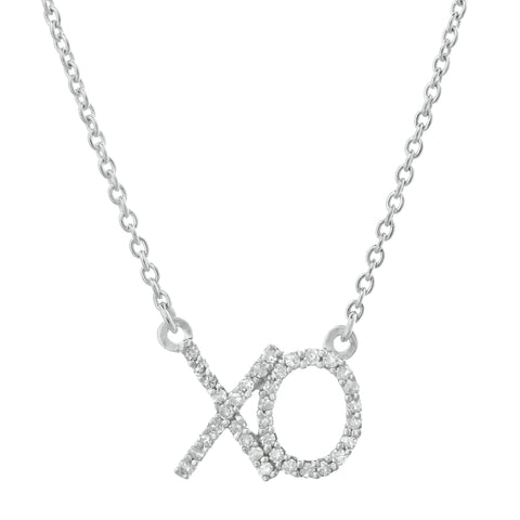 XO Pendant with Diamond Accent in 14K Gold