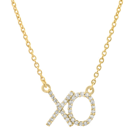 Image of XO Pendant with Diamond Accent in 14K Gold