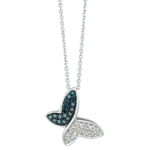 Butterfly Pendant with Colored and White Diamonds in Silver