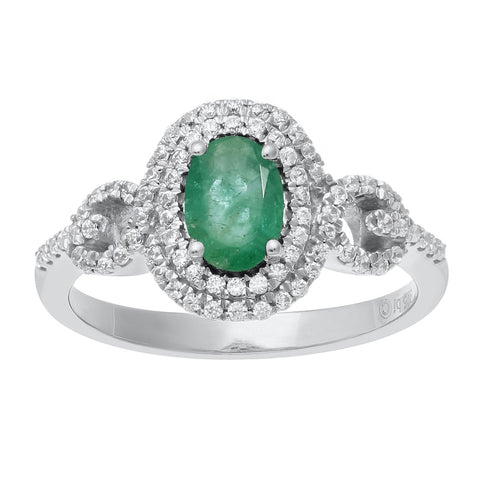 Oval Shape Gemstone Ring with Diamond Accent in White Gold