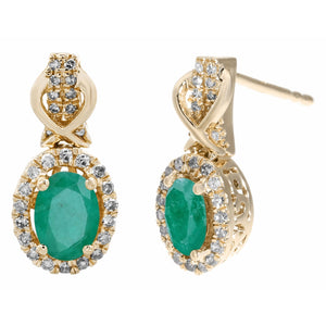 Drop Earrings with Oval Gemstone and Diamond Accent in 10K Gold