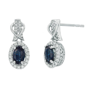 Oval Shape Gemstone Earrings with Diamond Accent in Sterling Silver