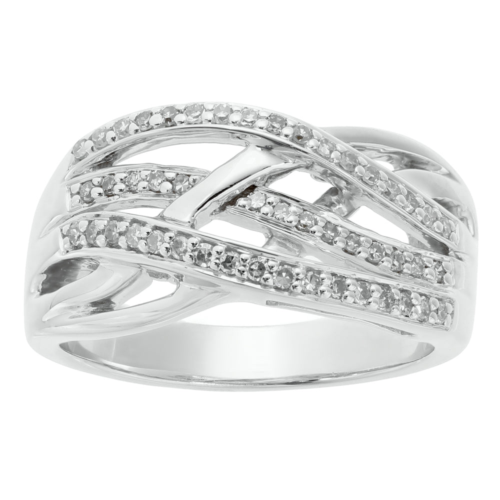 Silver Ring with Diamond Accent