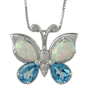 Butterfly Colorstone Pendant with Diamond Accent in Sterling Silver