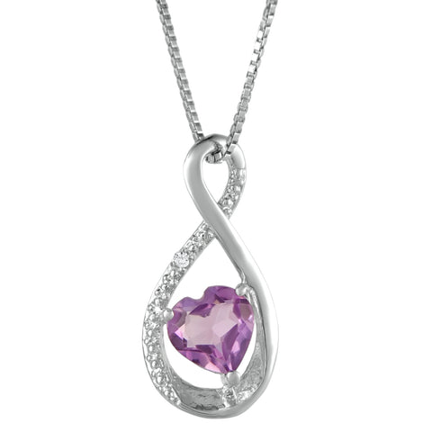 Birthstone Infinity Heart Pendant with Diamond Accent in 10K Gold