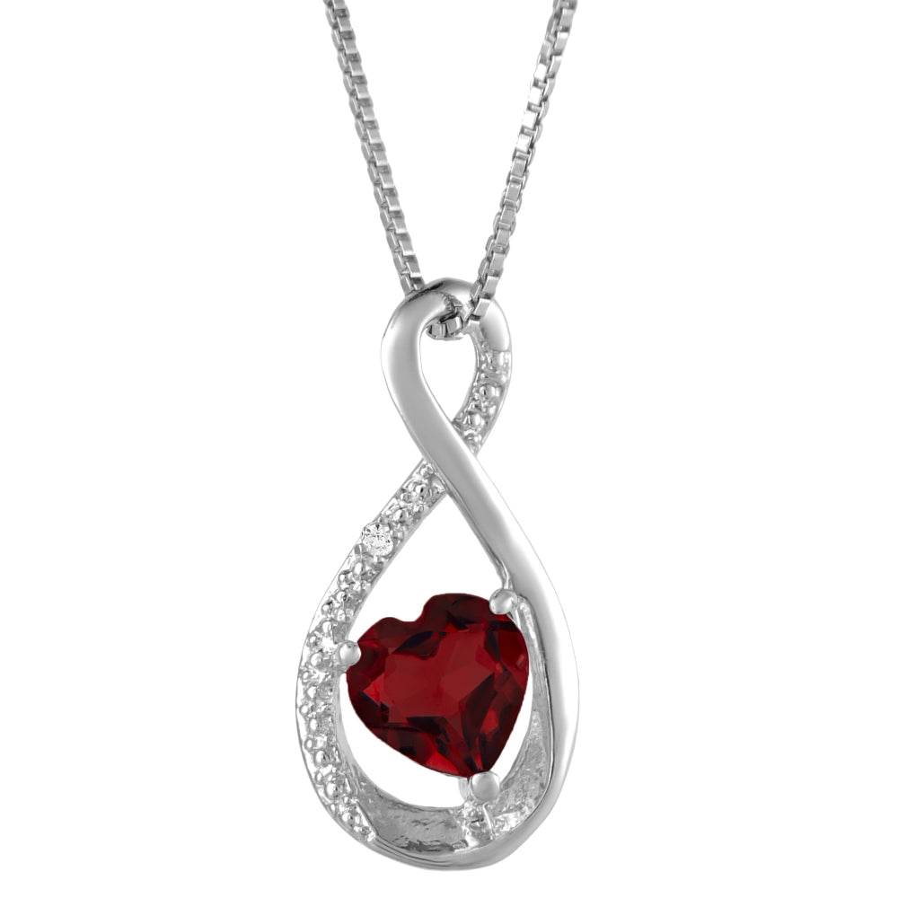 Birthstone Infinity Hammered Shape Pendant with Diamond Accent in Sterling Silver