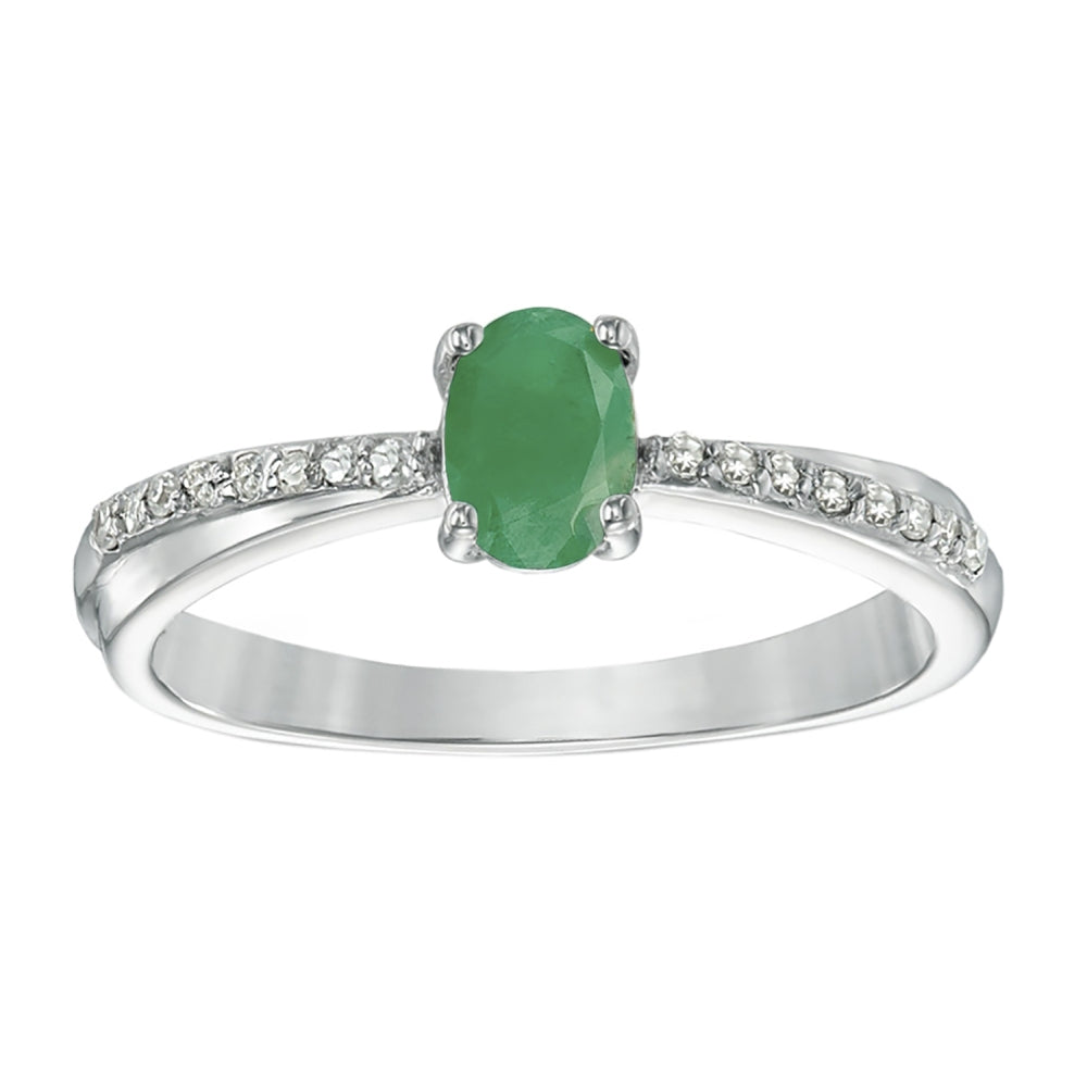 Oval Shape Gemstone Ring with Diamond Accent