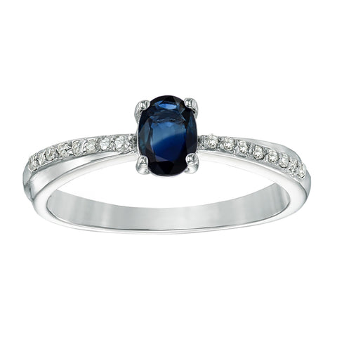 Image of Oval Shape Gemstone Ring with Diamond Accent