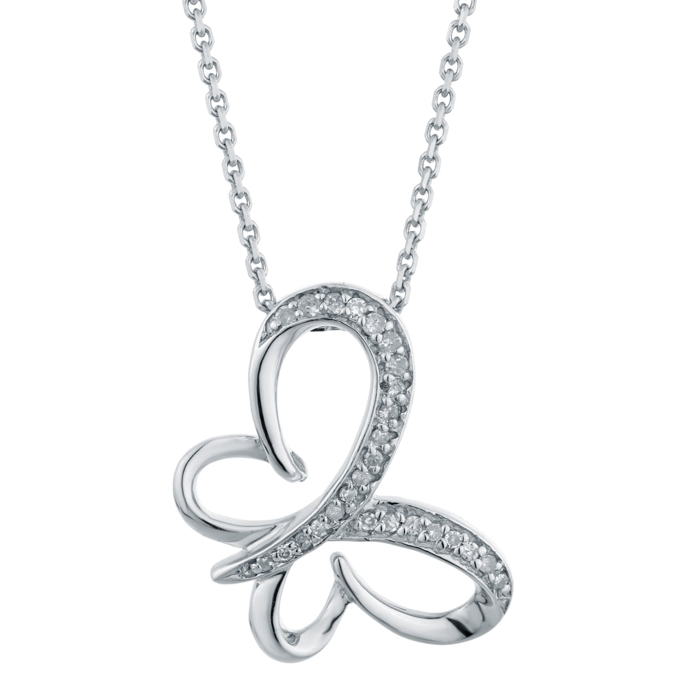 Butterfly Pendant with Diamond Accent in Silver