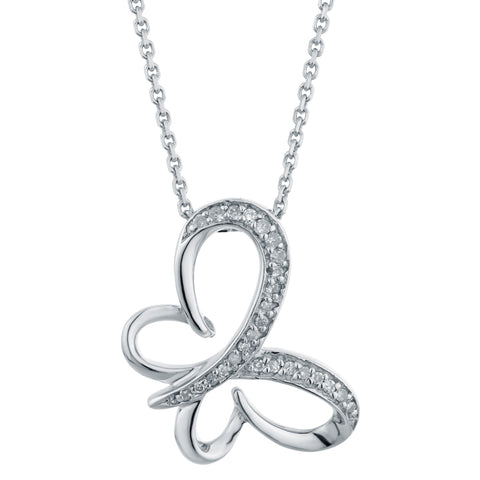 Image of Butterfly Pendant with Diamond Accent in Silver