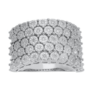 5 Row Silver Diamond Ring