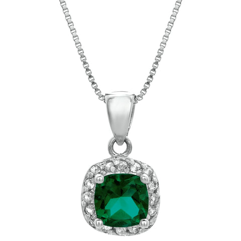 Image of Cushion Birthstone with White Topaz Accent Pendant in Sterling Silver