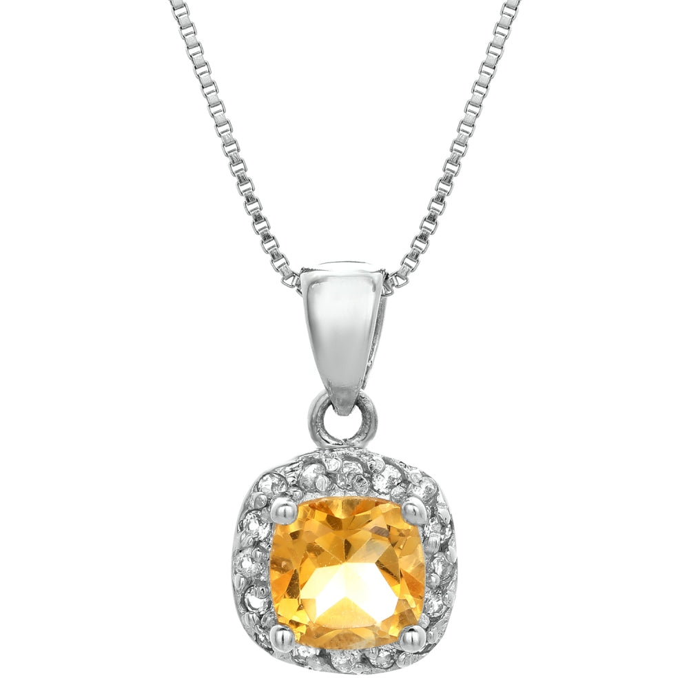 Cushion Birthstone with White Topaz Accent Pendant in Sterling Silver