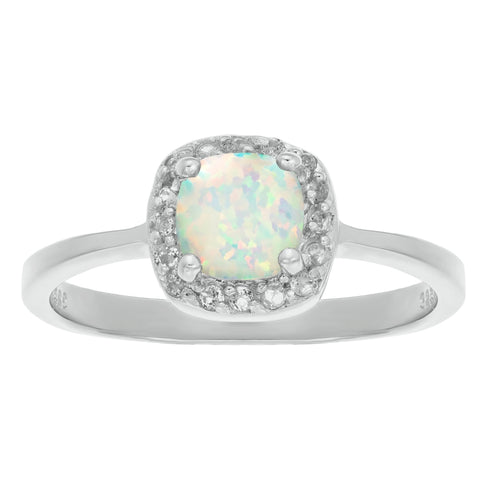Cushion-shaped Birthstone and White Topaz Halo Ring in Sterling Silver