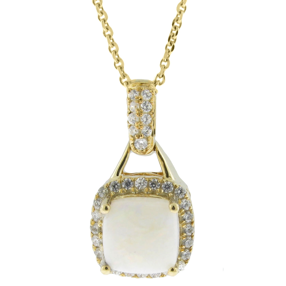 Cushion Gemstone Pendant with Diamond Accent in 10K Gold