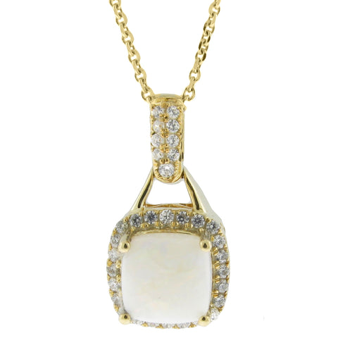 Image of Cushion Gemstone Pendant with Diamond Accent in 10K Gold