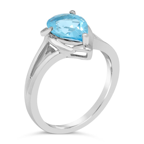 Blue Topaz Pear Ring with Diamond Accent in Sterling Silver