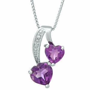 Double Heart Birthstone Pendant with Diamond Accent