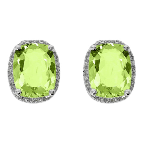 Image of Peridot & Diamond Accent Cushion Earrings in Sterling Silver