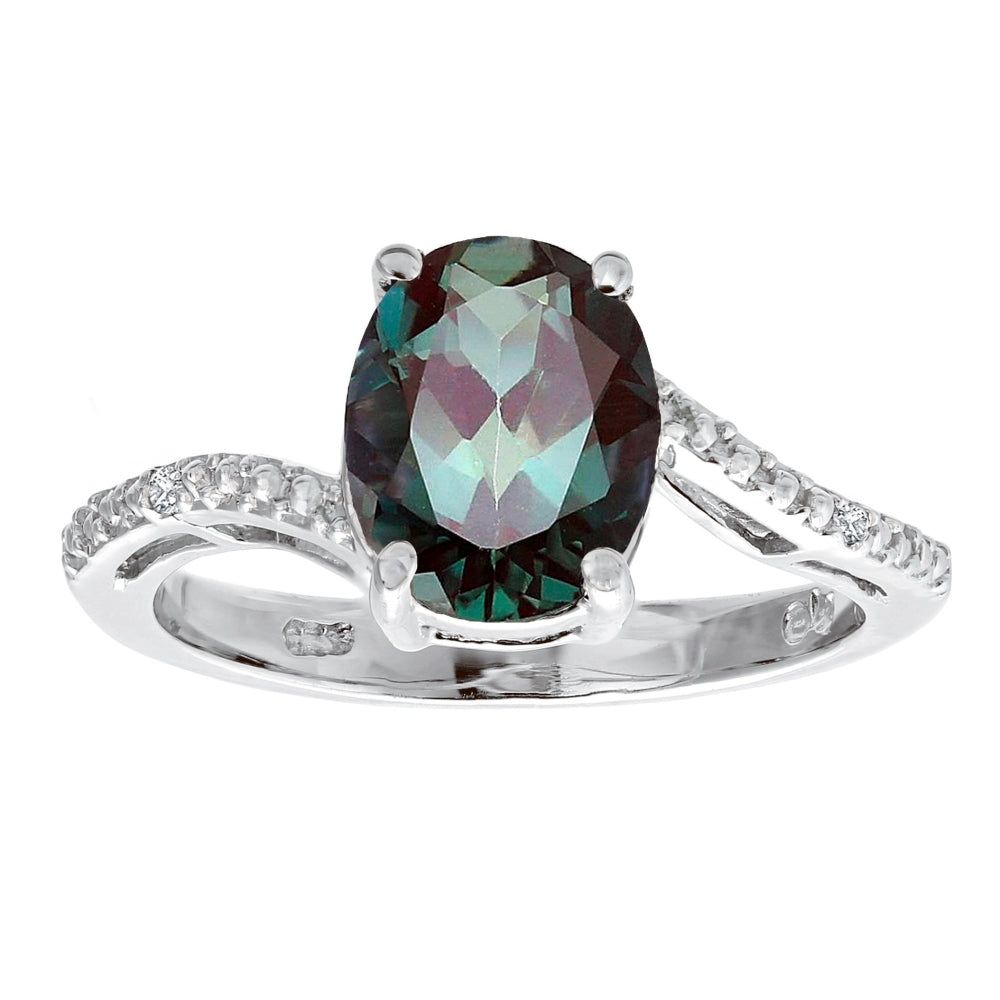 Oval Birthstone Ring with Diamond Accent in Sterling Silver