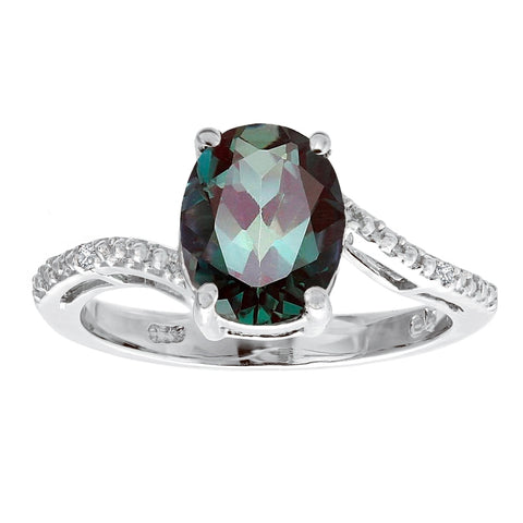 Image of Oval Birthstone Ring with Diamond Accent in Sterling Silver
