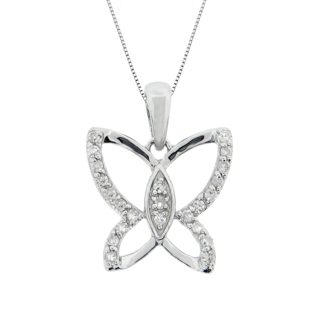 Butterfly Pendant with Diamond Accent in Sterling Silver