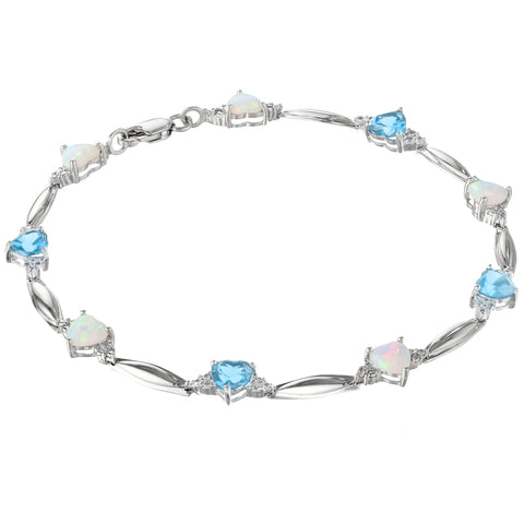 Image of Gemstone and Opal Hammered Bracelet with Diamond Accent in Sterling Silver