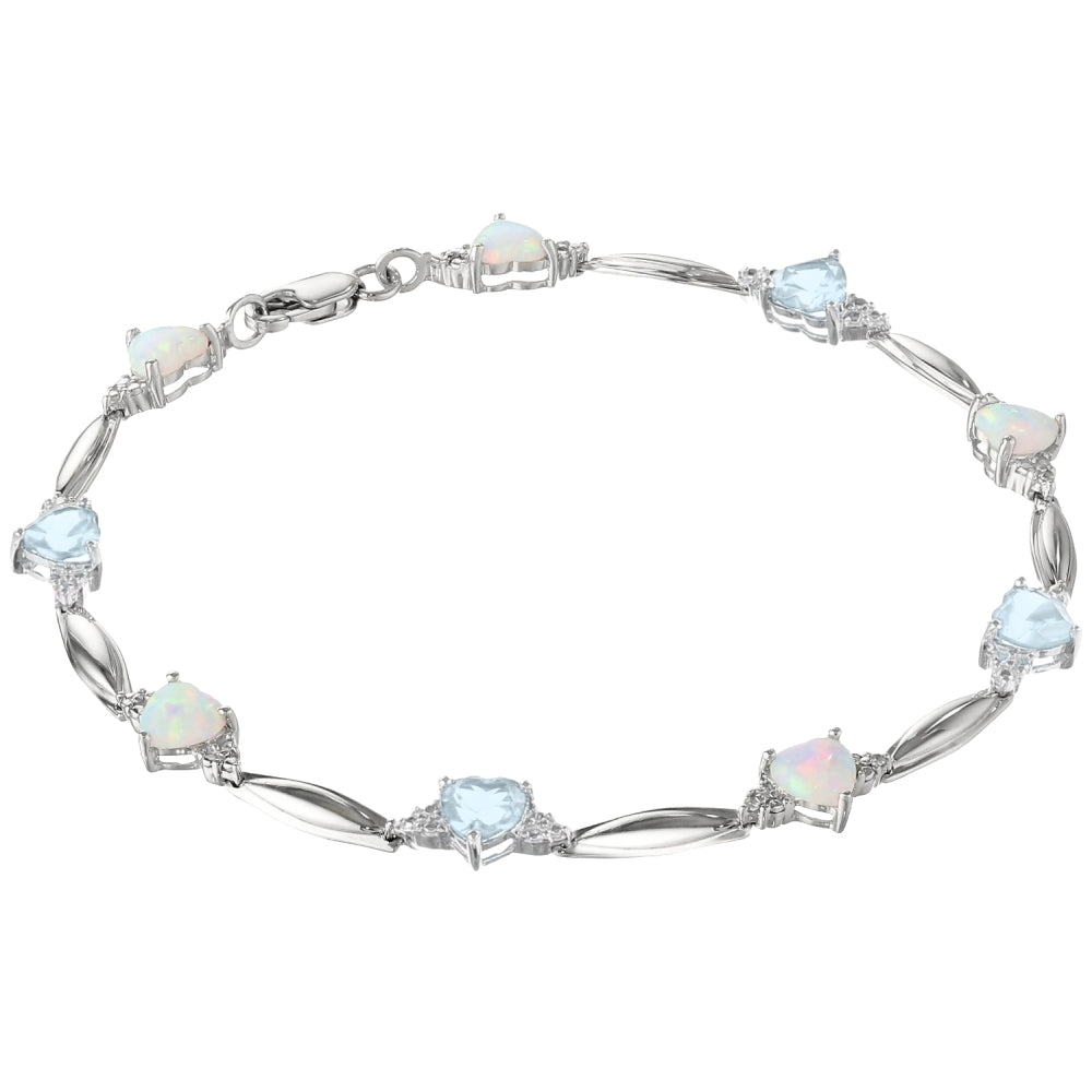 Gemstone and Opal Hammered Bracelet with Diamond Accent in Sterling Silver