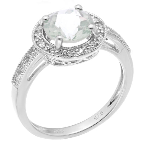 Image of Round Gemstone & Created White Sapphire Ring with Diamond Accent