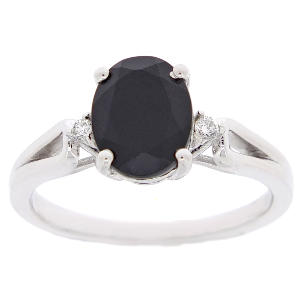 Silver Ring with Oval Black Onyx and Diamond Accent