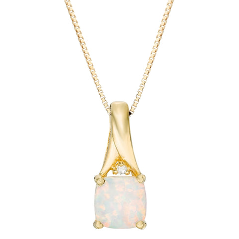 Gold Plated Sterling Silver with Cushion Created Opal and Diamond Accent