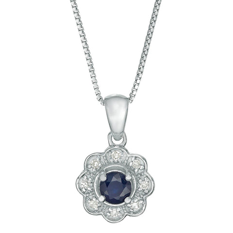 Round Sapphire and Diamond Accent Pendant in Sterling Silver
