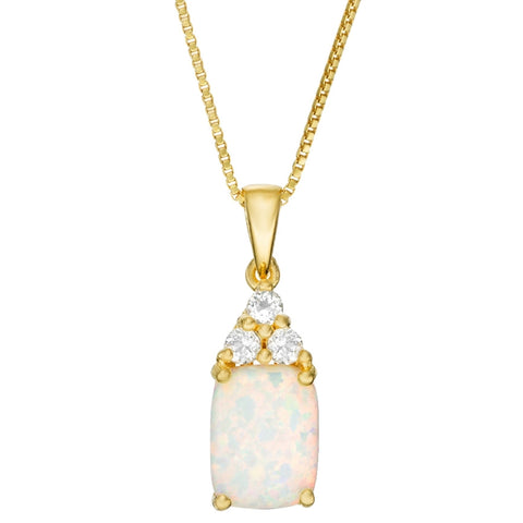 Gold Plated Sterling Silver Pendant with Created Opal and White Topaz
