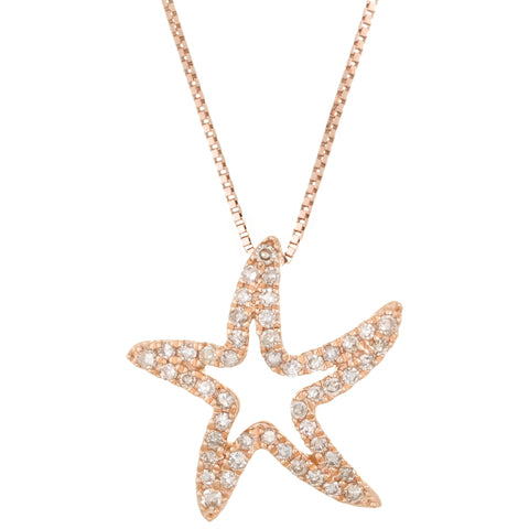Diamond Starfish Pendant in 14K Gold
