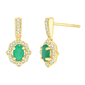 Gemstone Earrings with Diamond Accent in 10K Gold