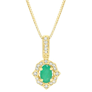 Oval Shape Gemstone Pendant with Diamond Accent in 10K Gold