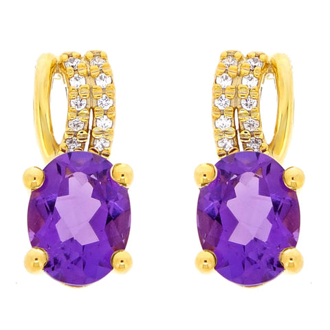 Gemstone Oval Shaped Earrings with Diamond Accent in 10K Gold