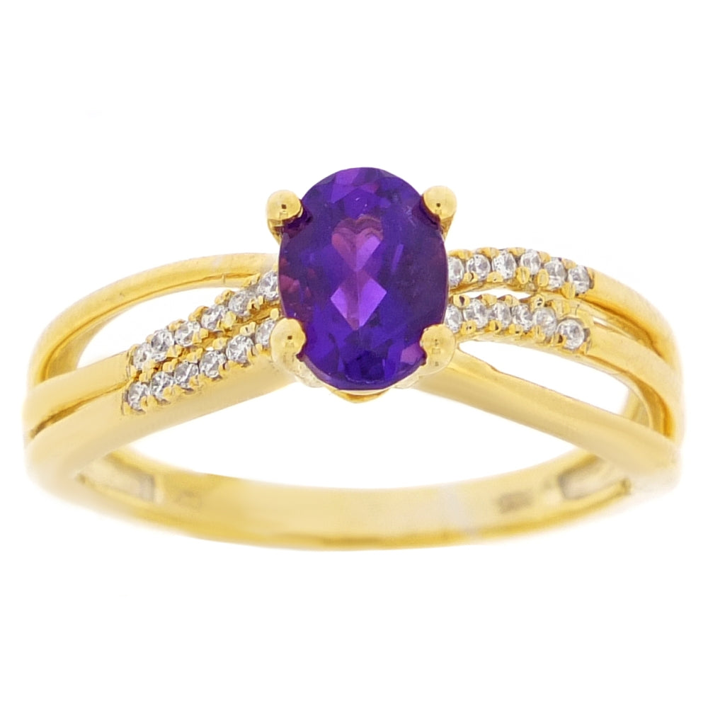 Gemstone Ring with Diamond in 10K Gold
