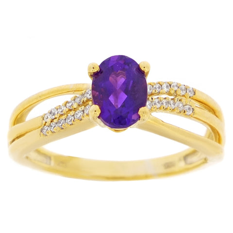 Image of Gemstone Ring with Diamond in 10K Gold