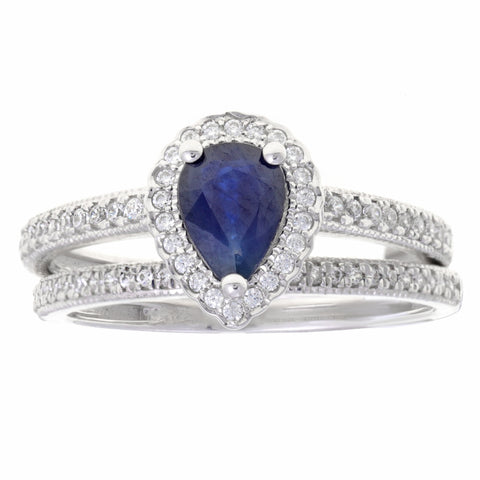 Sapphire Pear Shape Ring with Diamond Accent in 10K White Gold