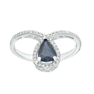 Sapphire Ring with Diamond Accent in 10K White Gold