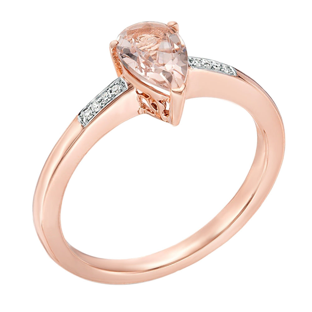 Pear Shape Morganite Ring and Diamond Accent in 10K Rose Gold
