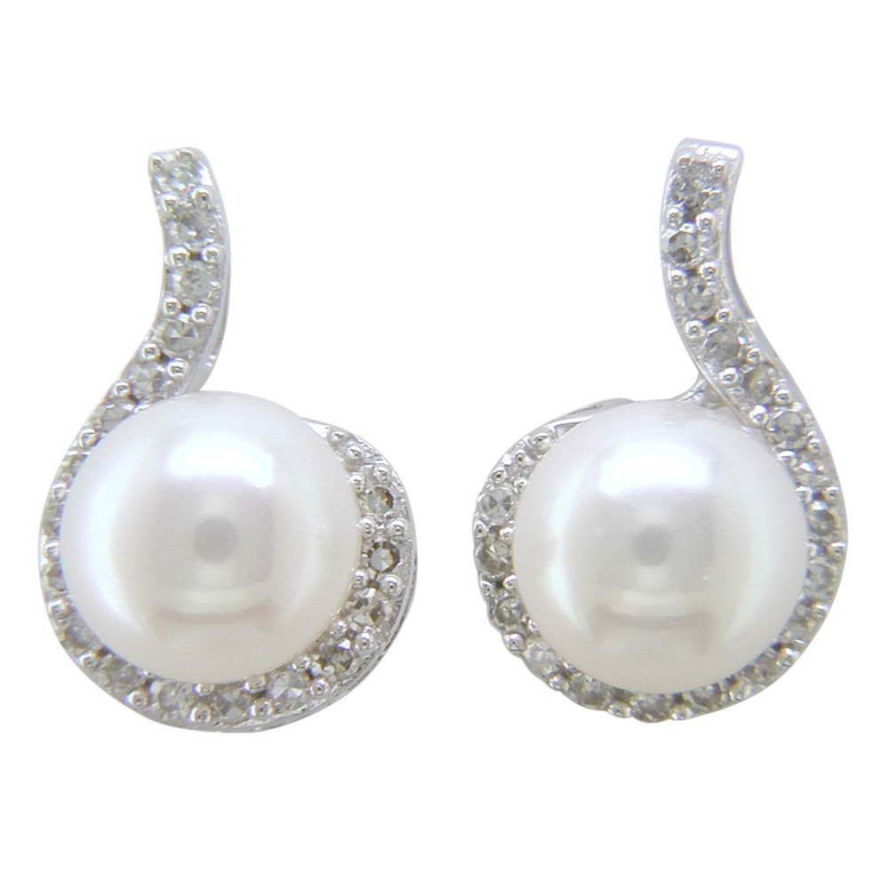 Button Pearl Earrings with Diamond Accent in Sterling Silver